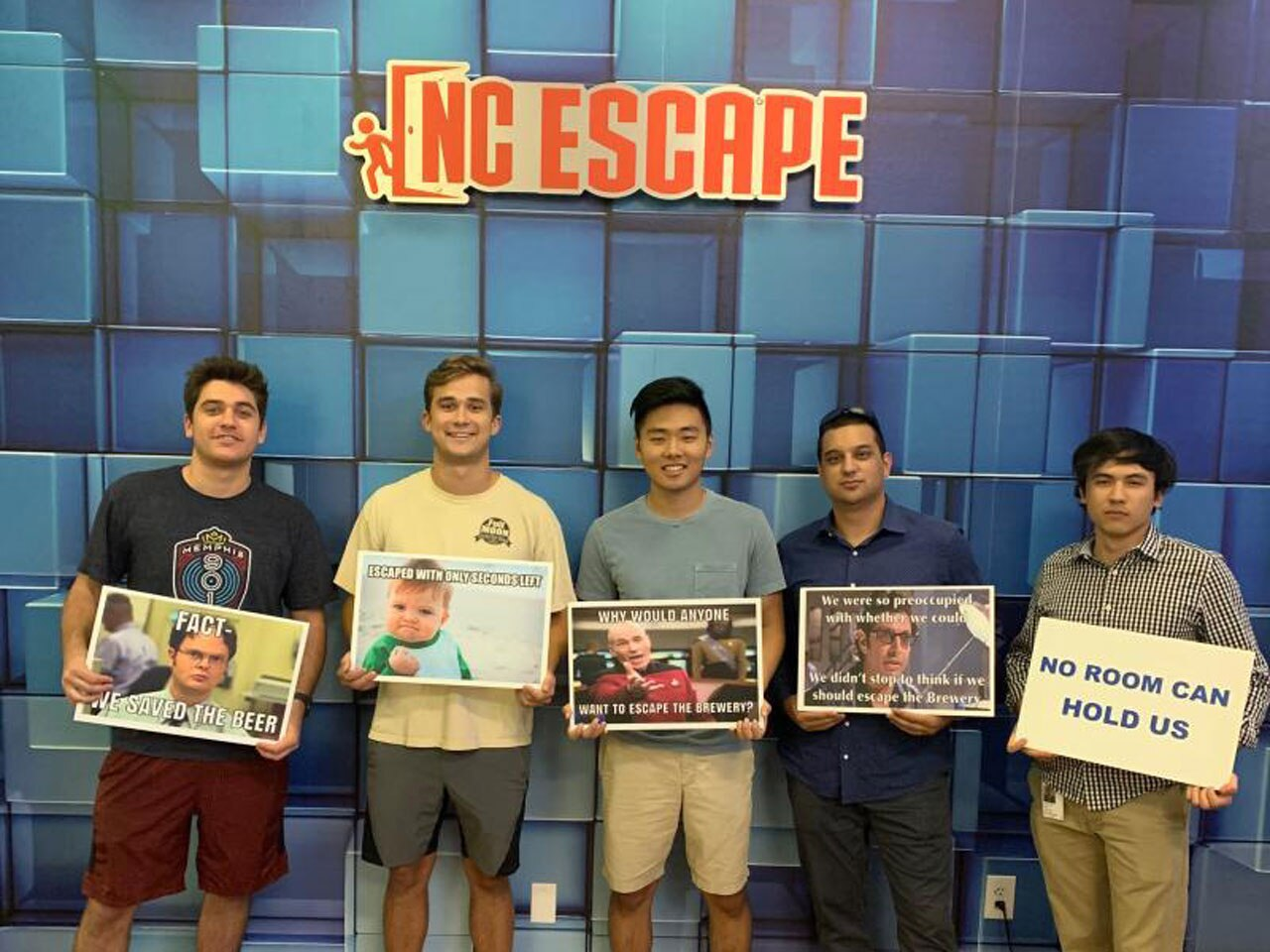 Avaya team members at an escape room working on team building