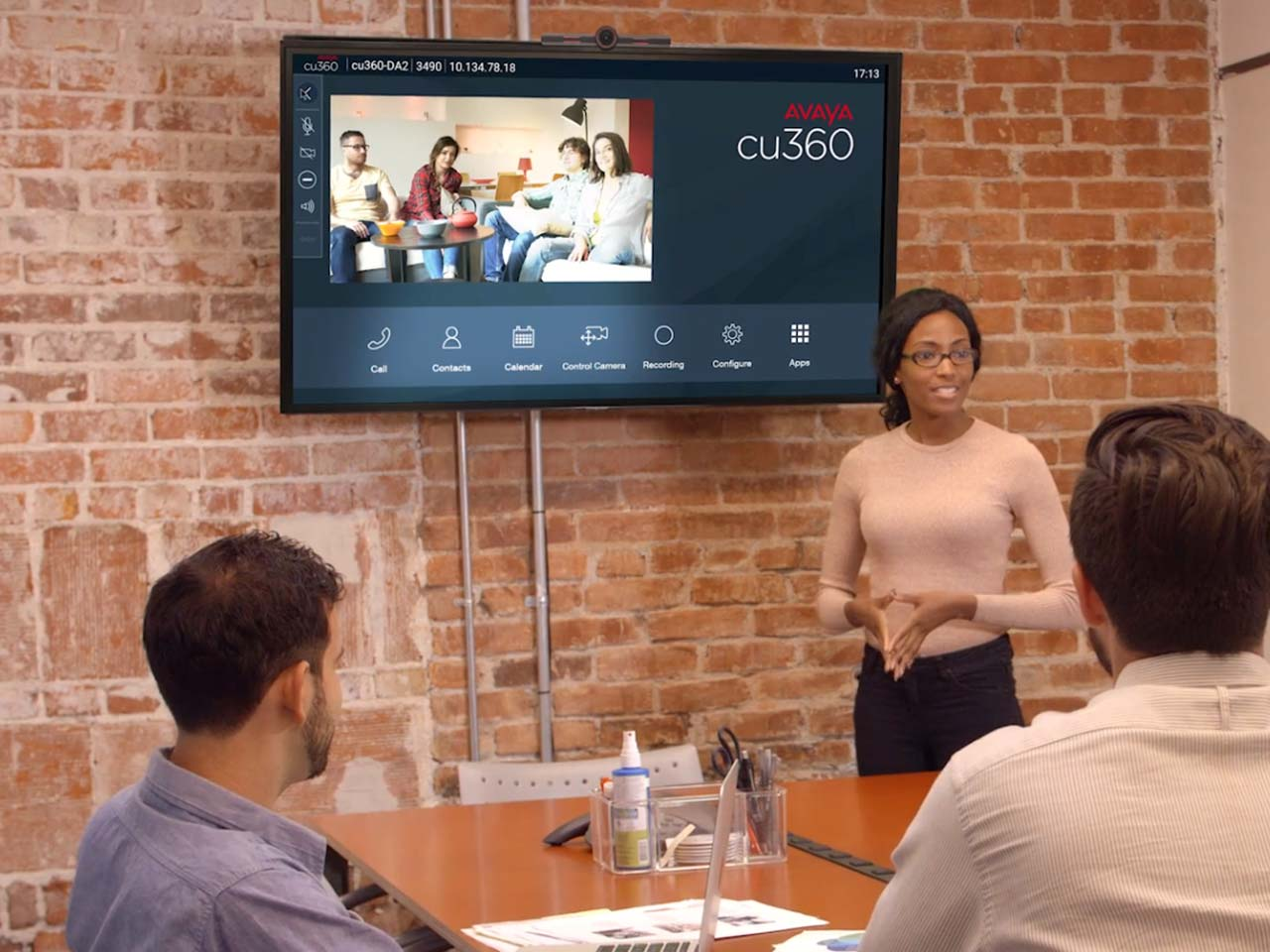 video meeting plus conference room, using Avaya CU360