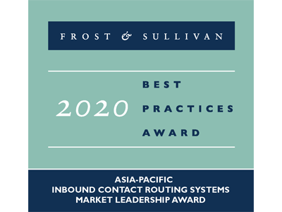 Frost and Sullivan Best Practices Awards 2020 - Inbound Contact Routing - APAC