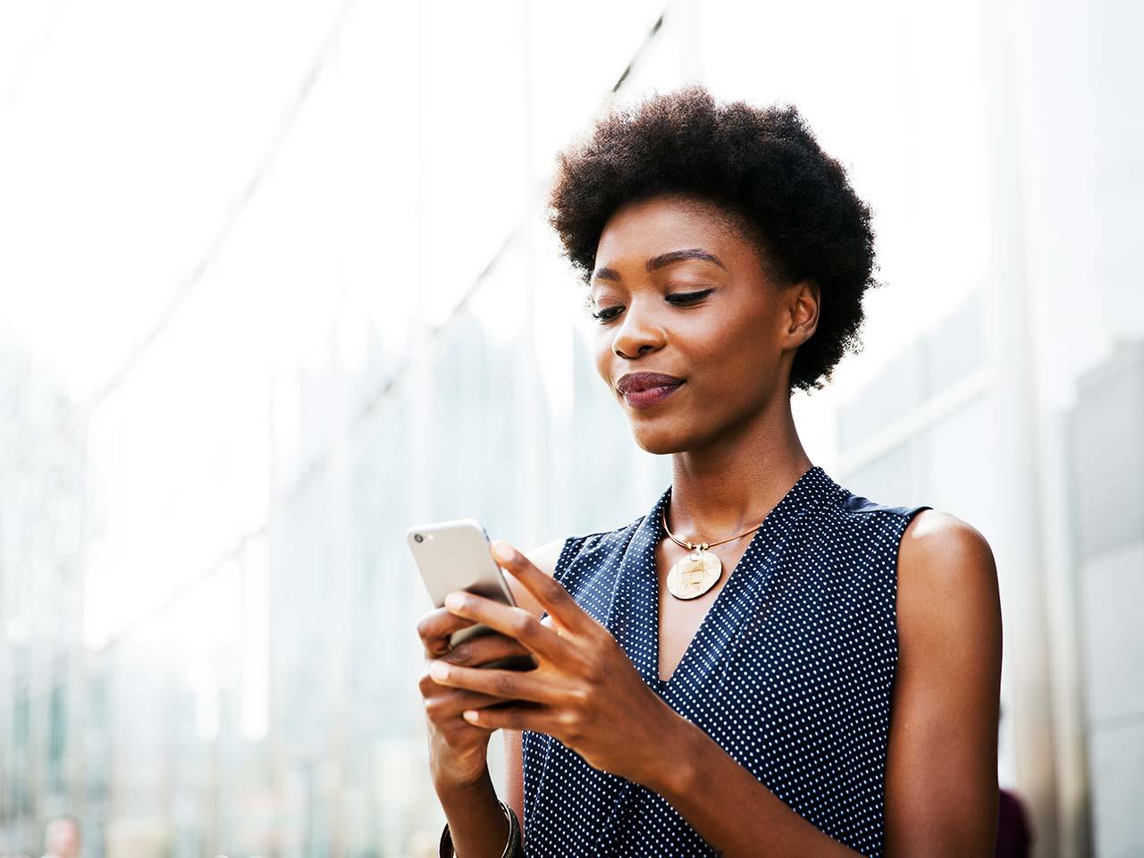 Woman using a cellphone.